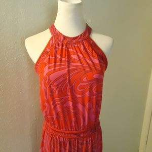 Michael Kors Red/Pink Halter Maxi Dress Small